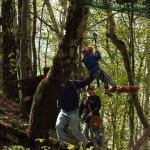 Małpi gaj, czyli dzieciaki skaczą między drzewami upięte na linach