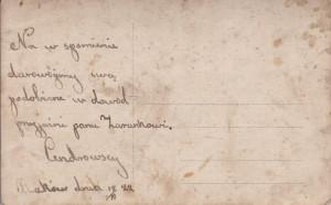 Cendrowscy dedykują zdjęcie Stefanowi Zarankowi. Raków 1944 (?)