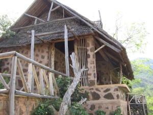 Domek o ścianach w plamki żyrafy