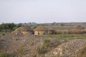 afrykańskie okrągłe chaty pokryte dachami z trawy.
