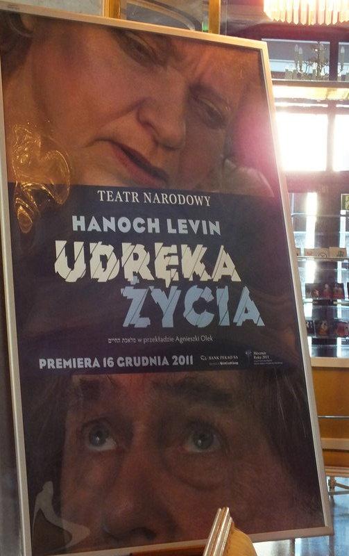 """Plakat sztuki """"Udręka życia"""", Hanoch Levin tłum. Agnieszka Olek w Teatrze Narodowym. W rolach głównych Janusz Gajos i Anna Seniuk"""