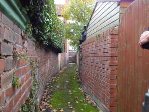 Na tyłach, między ogródkami jest tajemna sieć kamiennych ścieżek. Można nimi przejść z ogrodu do ogrodu, z ulicy na ulicę lub po prostu stąd zabierane są śmieci do wywiezienia.