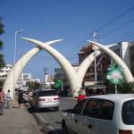 Kły słoniowe to wizytówka Mombasy. Znajdziemy je na Moi Avenue – głównej alei. Łączy stary i nowy port. Kły ustawiono dla upamiętnienia wizyty królowej Elżbiety w 1952 roku