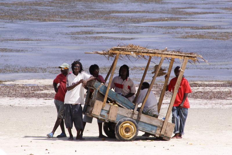 Spacer pod Mombasą. Kenya Beach.Młodzi biznesmeni zawsze byli chętni do rozmowy ze spacerującymi gośćmi hotelowymi.